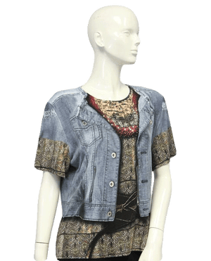 Top Denim Look Embellished Size XL SKU 000101