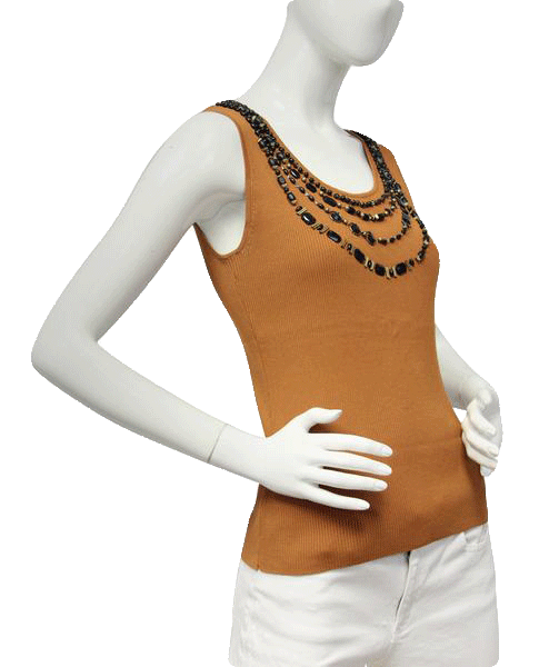 Beaded Boho Burnt Orange Knit Top Size  (SKU 000101)