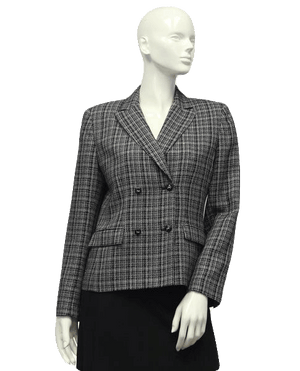 Kasper A.S.L. 70's Blazer Black & White Tweed Size 6 SKU 000007