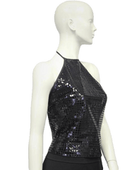 Black Sequin Tie Halter Size 6 (SKU 000071)