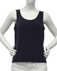 Chicos Travelers Navy Polka Dot Knit Pullover Top Size 2 (SKU 000069)