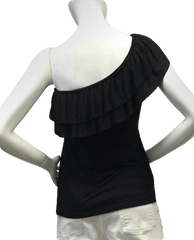 One Shoulder Black Ruffle Top Size SP (SKU 000101)