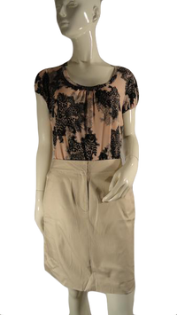 Ann Taylor Loft Beige Knee Length Skirt Size 8 SKU 000126