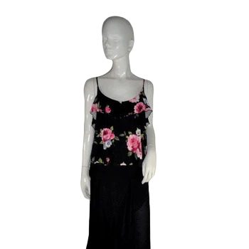 Wet Seal Crop Top Black Floral XL (SKU 000187-17)