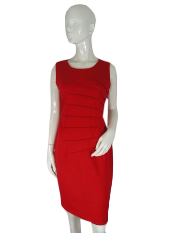 "Calvin Klein Dress Red Size (no tag) Bust 18"" (SKU 000195-6)"