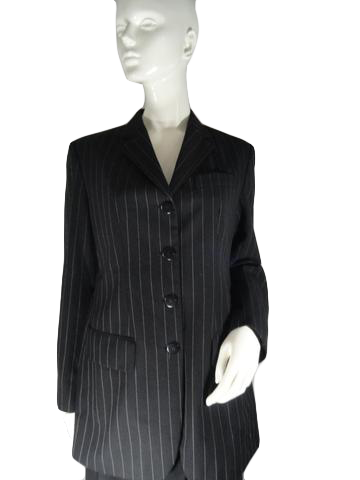 DKNY Jacket Black White Pin Stripes Size 8 (SKU 000196-7)