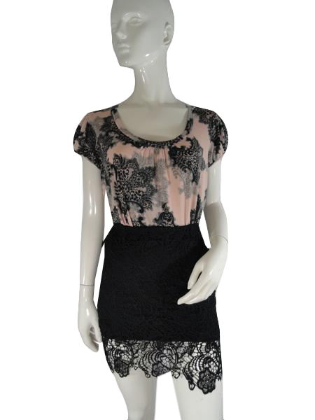 Ambiance Apparel 2005 Skirt Black Fitted Lace Sz S (SKU 000019)