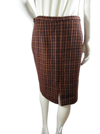 Rena Rowan for Saville 70's Tweed Skirt Brown & Burgundy Size 14 SKU 000154