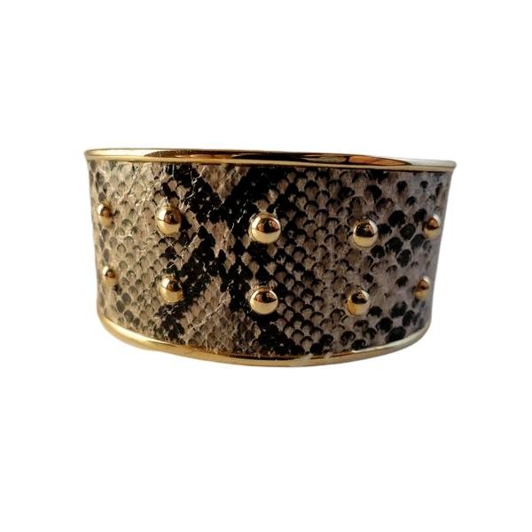Bracelet Cuff Gold with Snakeskin (SKU 000242-16)