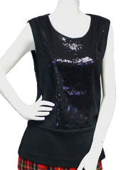 Calvin Klein Night Out Black Sequin Top Size L (SKU 000016)