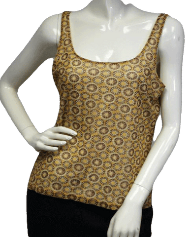 NY & Co Retro Geometric Print Mesh Top Size Large (SKU 000023)