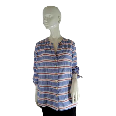 Anne Klein Blouse Blue with Red & White Stripes Size L SKU 000232-7