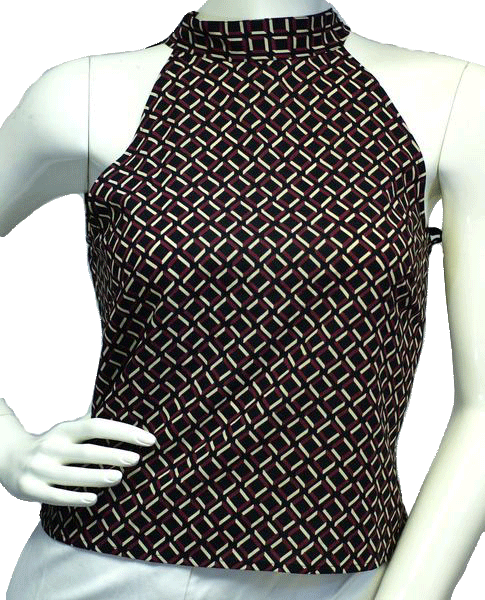 Ann Taylor Patterned Racerneck Tied Top Size Small 2 (SKU 000024)