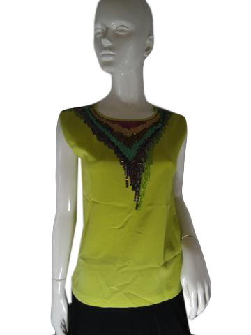 Trina Turk Blouse Lime Green Size P SKU 000234-13