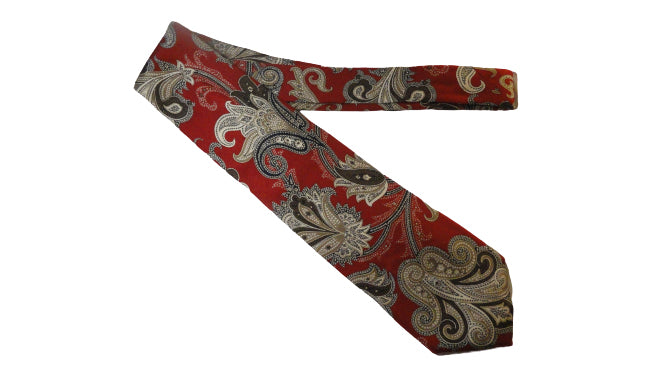 Men's Brooks Brothers Tie Red Print SKU 000284-5 Bg1