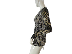 Poof Long Sleeve Black, White And Tan Animal Print Sheer Top Size L SKU 000127