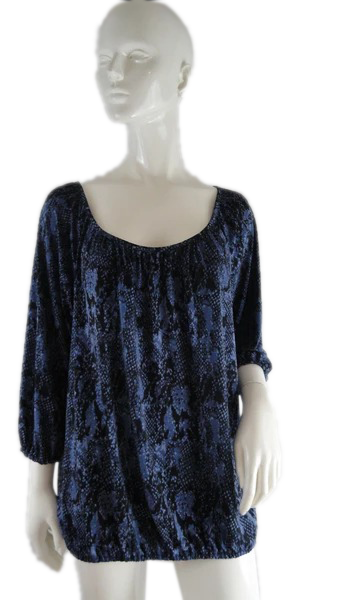 Micheal Kors Top Black and Blue Size L SKU 000235-4