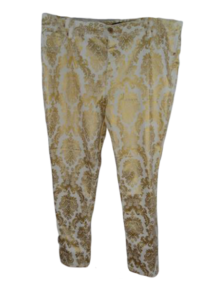 Ashley Stewart Pants White/Metallic Gold Size 22 SKU 000239-13
