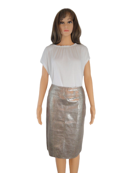 Leather Skirt Gold Size 2 (SKU 000019)