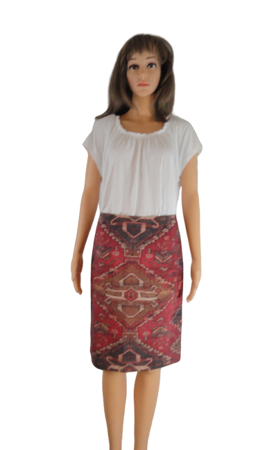 Tory Burch Aztec Print Pencil Skirt Size 2 (SKU 000266-5)