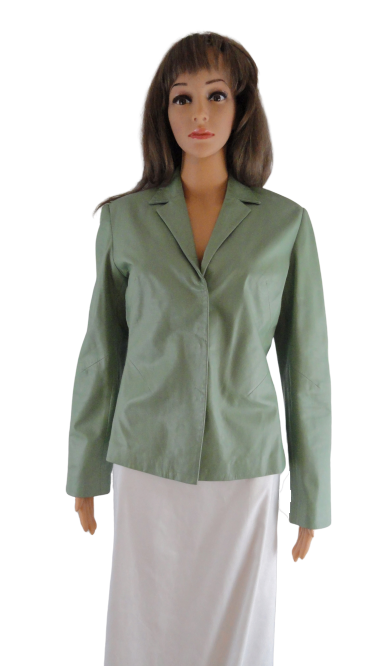 Vakko Leather Blazer NWOT Sz M Celery Green (SKU 000267-2)