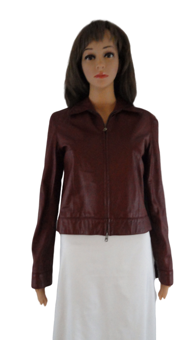 Ralph Lauren 90's Leather Jacket Merlot Sz 6 NWOT (Blue) SKU 000039