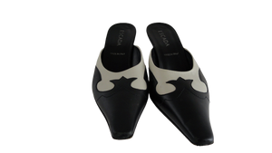 Escada Shoes Black & Cream Slides Leather Size 7 (SKU 000192-9)