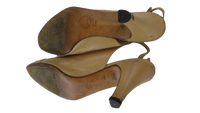 SHOES Chanel Tan Mid Heel Pumps Size 7 SKU 000130