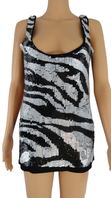 Zara Collection Black & White Sequin Top Size L (SKU 000051)