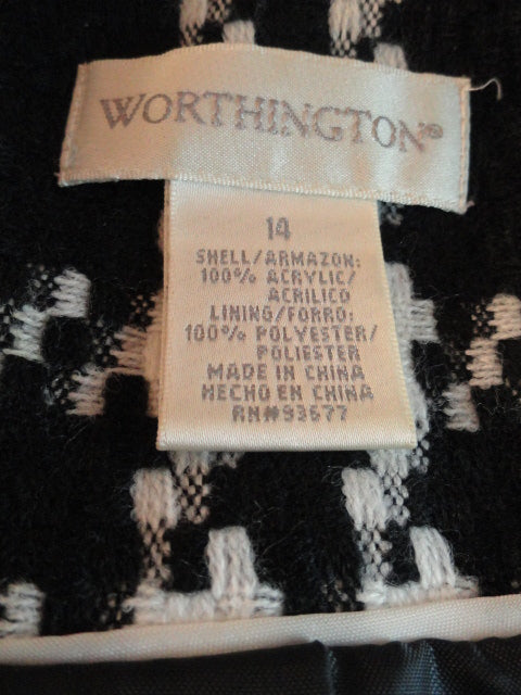 Worthington Blazer 80's Black & White Statement Size 14 SKU 000045