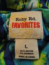 Ruby Rd. Print Top Blues & Greens, White Size Large SKU 000051