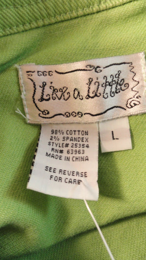 Live a Little Jacket Lime Green Denim Long Sleeve Size L NWT SKU 000090