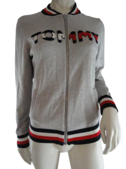 Tommy Hilfiger Long Zip UP Sweater Gray Size M SKU 000090