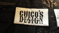 Chico's Design Black Embroidery Silk Pants Size 12 SKU 000171