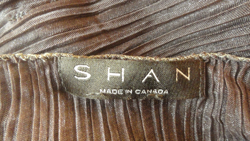 Shan Dark Brown Sheer Blousy Top with Leather Tie Around the waist Size L SKU 000205