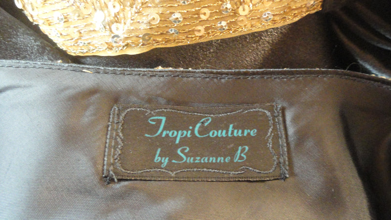 "Tropi Couture by Suzanne B Black Halter Top with Gold Waist and Neck Size 30"" Waist SKU 000205"