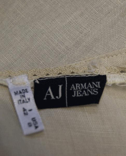 Armani Jeans Tan Round Neck Linen Top Size US 8 (SKU 000052)
