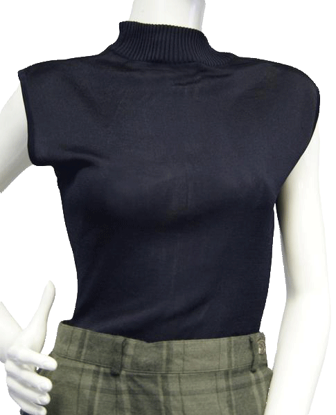 DKNY High Neck Navy Sleeveless Knit Shell Top Size M (SKU 000052)
