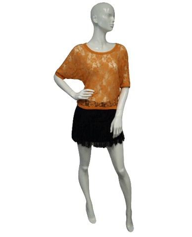 Get Meshy in Orange Lace Size Small (SKU 000101)