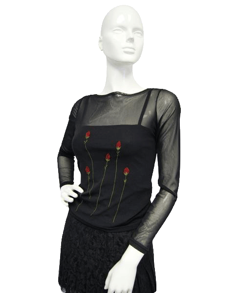 Bed of Roses Mesh Top Black & Red Size Small SKU 000096