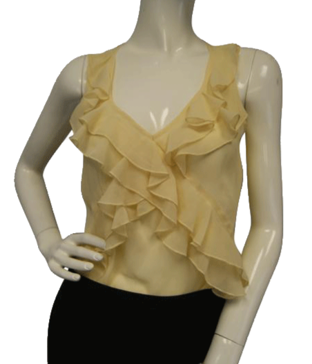 Maurice's Pale Yellow Sheer Sleeveless Blouse Size Small SKU 000051