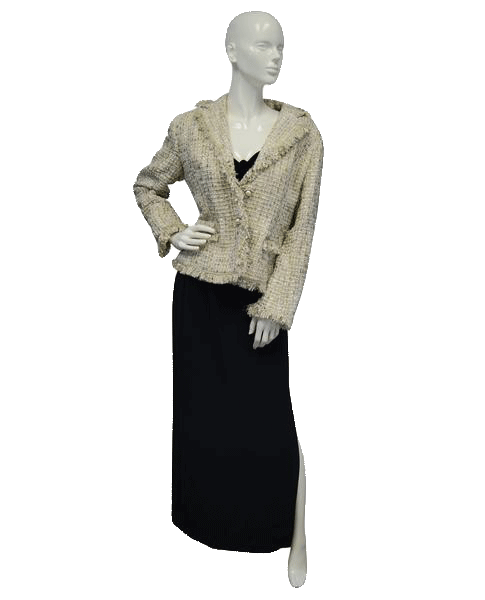 Bergamo Studio 90's Blazer Fringed Tweed Tan Sz 12 SKU 000037