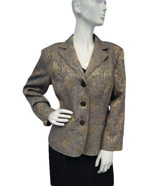Chicos Embossed Gold Floral Blazer Sz 2 (SKU 000037)