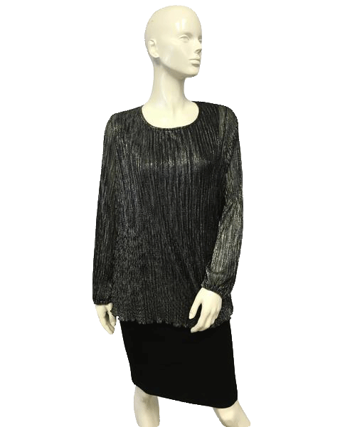 Linea by Louis Dell'Olio Silver Lame Top Size 1X SKU 000051