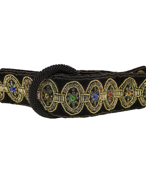 BELT Black Velvet Embellished Belt (SKU 000099)