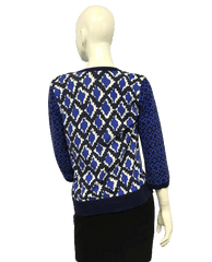 Isaac Mizrahi Blue Patterned Button Up Sweater Size Small (SKU 000051)