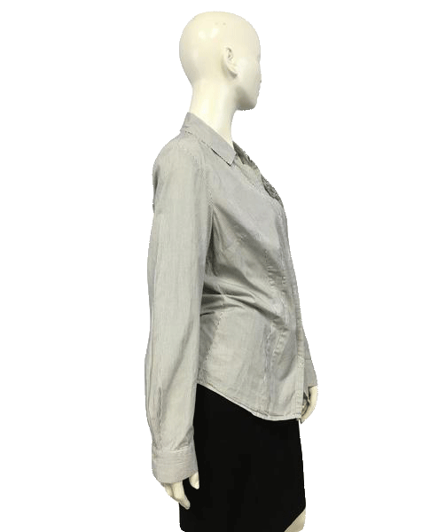 Ann Taylor Button Up Pinstriped Shirt Size 8 (SKU 000051)
