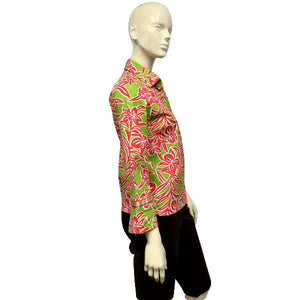 IZOD Pink and Green Field of Florals Blouse Size Small SKU 000051