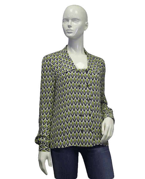 Tory Burch Emerald Diamond Blouse Size 6 (SKU 000057)