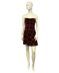 American Eagle Outfitters Red Strapless Plaid Dress Size 4 SKU 000064